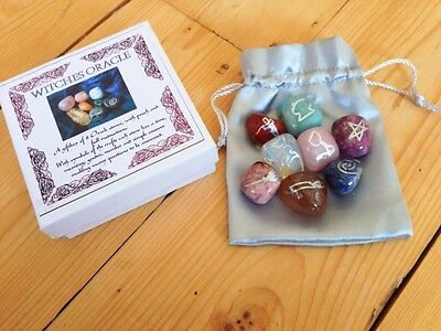 Witches Oracle Tumblestone Set Gemstone Crystal Wicca Healing Divination Spells