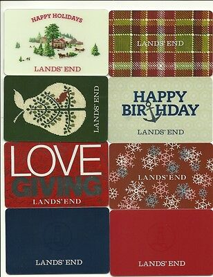 Lands' End Lot of (8) Gift Cards No $ Value Collectible incl Christmas Holiday