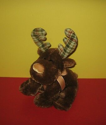 "13"" Russ Marty The Moose Bean Tush Stuffed Plush w/ Flannel Antlers 32742"