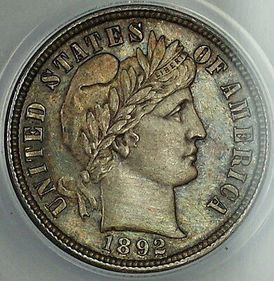 1892 Barber Silver Dime 10c, ANACS MS-60 Details, Beautifully Toned