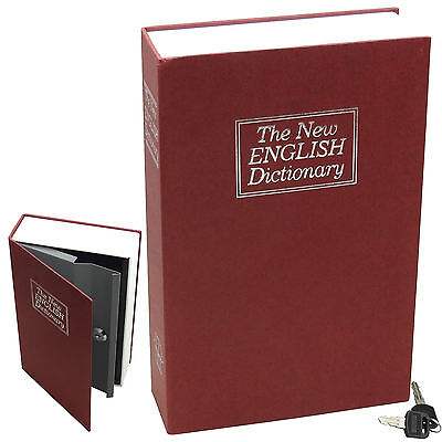 Dictionary Diversion Book Safe w/ Key Lock ~ Metal ~ Red (Large)