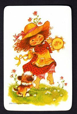Vintage Swap Card - Cute Girl with Tambourine & Puppy  (BLANK BACK)