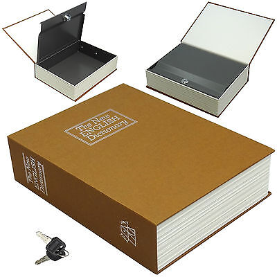 Dictionary Diversion Book Safe w/ Key Lock ~ Metal ~Brown (Large)