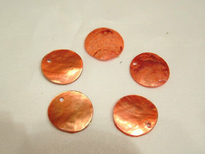 30 x Natural Shell Dyed Bead Discs : BNS21 Peach