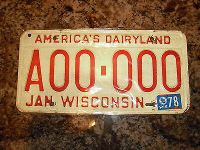 1978 Wisconsin Sample License Plate A00 000