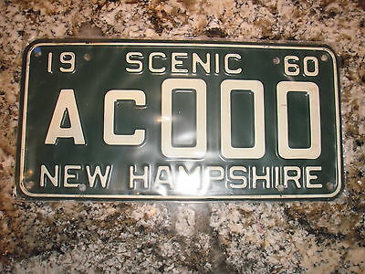 1960 New Hampshire Sample License Plate