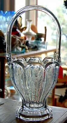 Large Heisey cut and blown crystal glass basket