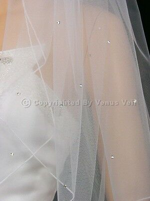 2T White Fingertip Scattered 50 Rhinestones Pencil Edge Bridal Wedding Veil