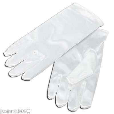 *Childrens Childs Kids Short White Satin Feel Holy Communion Flower Girl Gloves*