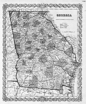 1855 GA MAP LINCOLN LONG LOWNDES LUMPKIN MACON MADISON MARION McDUFFIE COUNTY