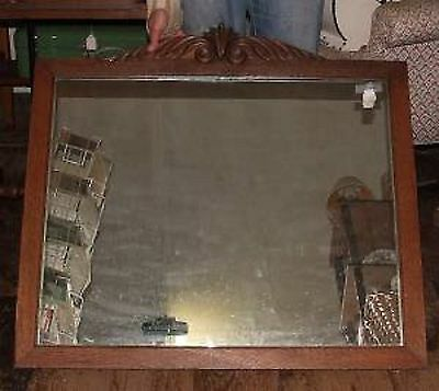 Lovely Antique Victorian Era OAK MIRROR with Plate Glass