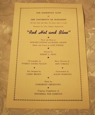 Red Hot and Blue University of Wisconsin Musical 1950's Program