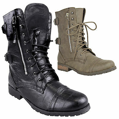 Ladies Womens Combat Army Military Worker Lace Up Flat Biker Zip Ankle Boots