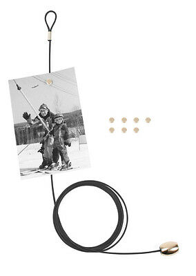 Black Magnetic Cable Photo or Card Holder with 8 magnets by Kikkerland