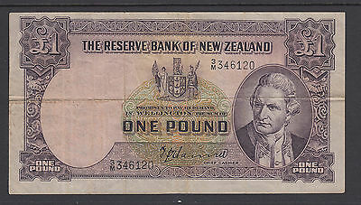 New Zealand P-159a VF. 1940-1955 £1 Banknote, no date