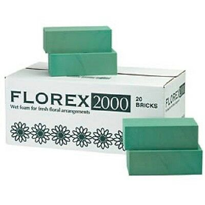 1 Case of 20 Florex wet foam floral bricks for fresh flowers - Oasis type