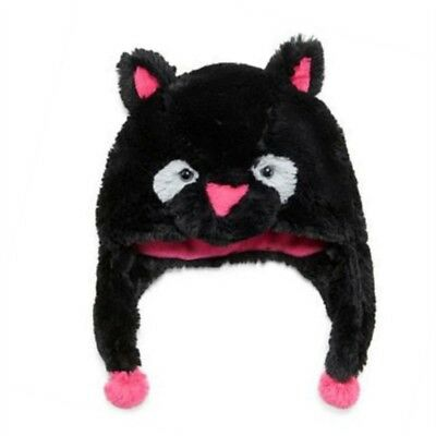 Total Girl Trapper Girls Fluffy Plush Black Kitty Cat Hat With Ear Flaps