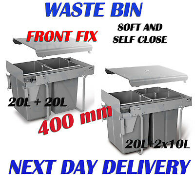 CARGO PULL OUT RECYCLE BIN KITCHEN FRONT FIX WASTE BIN SOFT AND SELF CLOSE 400mm