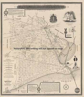 1898 LARGE LAND OWNERSHIP JEFFERSON COUNTY TEXAS WATERWAY  & RAILROAD MAP