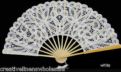 White Victorian Battenburg Lace Wedding Bridal FAN New Wedding Party Supply