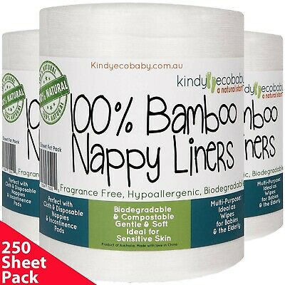 250 x Bamboo Flushable Nappy Liners/Inserts Nappy Cloth, Baby Diaper liners