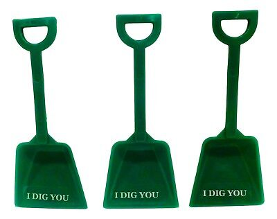 12 Green Toy Plastic Sand Beach Shovels & I Dig You Stickers  Made in America