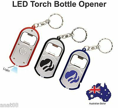 1000 Custom PRINTED  personalised  with text LED Torch KEY RINGS Bottle Opener