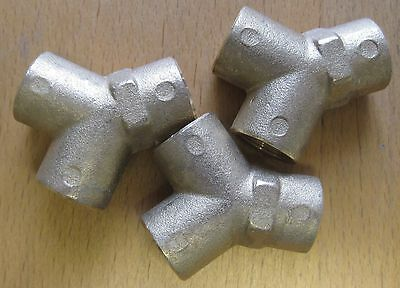 """Set of 3 PCL 1/4""""BSP Brass Y-Piece Fittings SPR4279"""