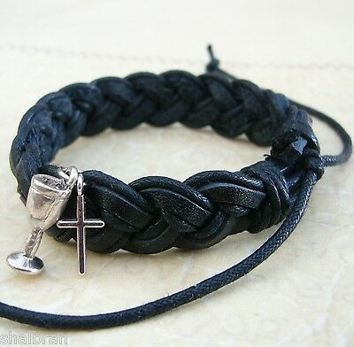 Boys First 1st Holy Communion or Confirmation Gift Leather Cross Charm Bracelet