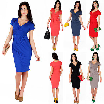 Classic & Elegant Women's Dress V-Neck Cocktail Jersey Office Size 8-18 5900
