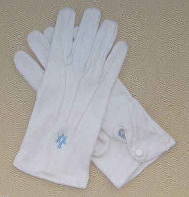 White Masonic Gloves with Light Blue Embroidered Square & Compass