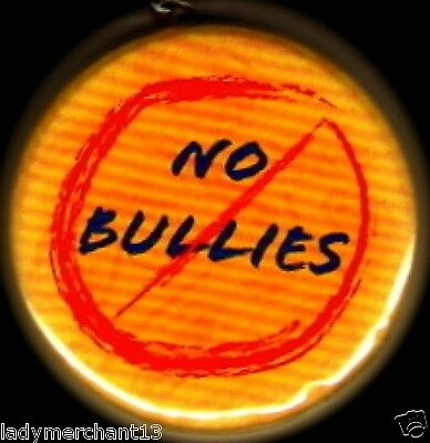 """""""NO BULLIES"""" Button Keyrings/Wholesale Lot of 50/All New!"""