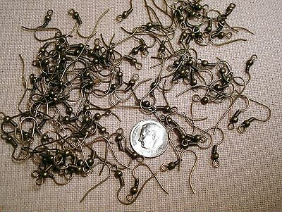 100 Bronze plated ball coil fish hook pierced earring wires w open loop fph008