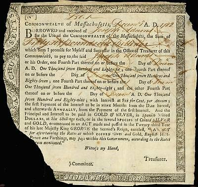 1782 Mass Loan Note Joseph Adams 56 Pounds 1 Shilling