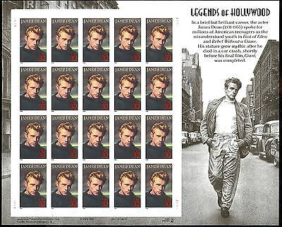 3028a, JAMES DEAN COMPLETE IMPERFORATE PANE OF 20 ERROR