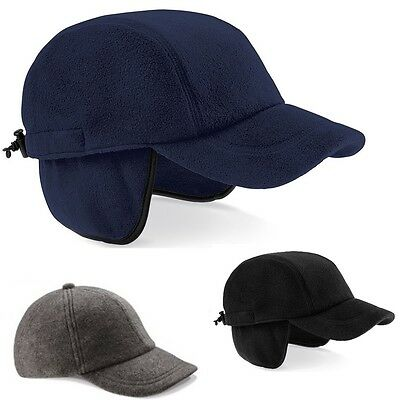 BLACK or NAVY DARK BLUE Suprafleece® Everest Baseball Cap Hat with Ear Flaps
