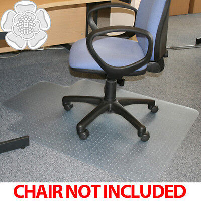 JVL Office Chair Desk T-Shape Carpet Protector Mat 90x120cm PVC Clear with Grips