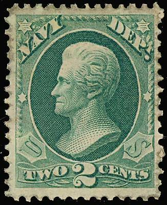 O36TC6, 2c NAVY BLUE GREEN ON STAMP PAPER GUM - VF+