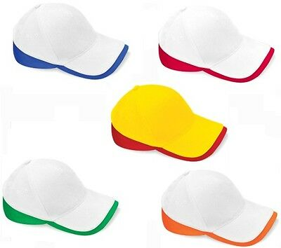 WHITE YELLOW GREEN BLUE Contrast Brushed Cotton Twill Teamwear Baseball Cap Hat