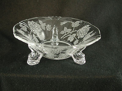 Heisey Queen Ann #1509 ROSE ETCH Dolphin Footed MINT BOWL Elegant Crystal Glass
