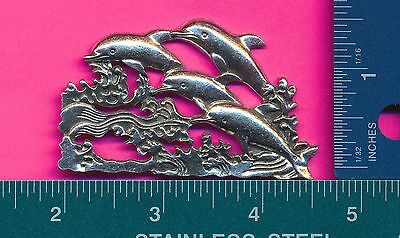 lead free pewter dolphins flat D4109