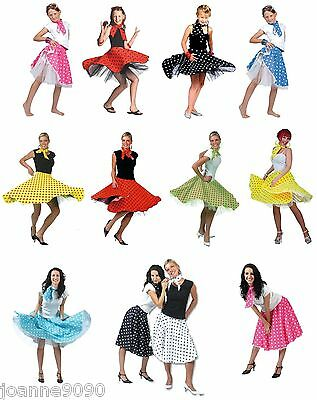 Ladies Womens Girls 1950s Rock n Roll Polka Dot Dance Skirt Fancy Dress Costume