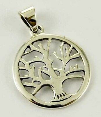 Small Tree Of Life 925 Sterling Silver Pendant With Leather Necklace & Gift Box