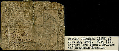 CC-39 $2.00 US CONTINENTAL CURRENCY JULY 22,1776 WITH FLAWS BP9944