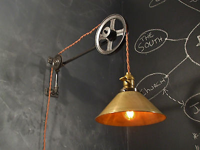 Industrial Lighting - Vintage Pulley Lamp - Steampunk Sconce Light - Art Deco