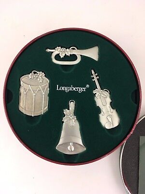 Longaberger Pewter Sounds of the Season Ornaments Set of 4 w Tin Drum Trumpet