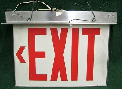 Vintage EXIT Sign White And Red #1445-13