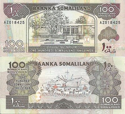 Somaliland P5f, 100 Shillin, Central Bank /  Sheep, Port of Berbera with ship