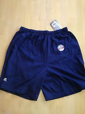 Russell 42715MO Adult Athletic Workout All Cotton Shorts, No Pocket, Navy Blue