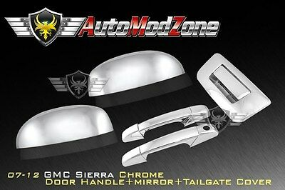 07-13 GMC Sierra Chrome 2 Door+ Tailgate Handle w/o KH + Top Mirror Cover Combo